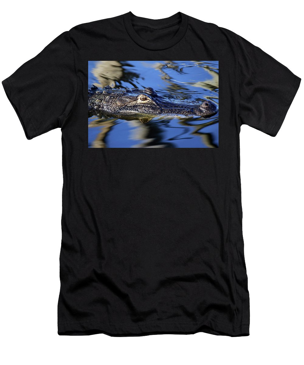 Alligator Men's T-Shirt (Athletic Fit) featuring the photograph American Alligator by Mercedes Martishius