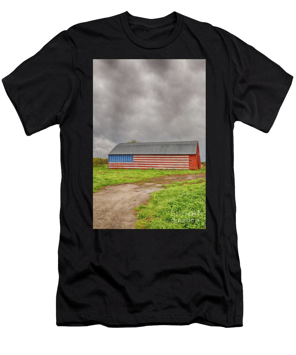 Barn Men's T-Shirt (Athletic Fit) featuring the photograph American Flag Proudly Displayed by Terri Morris
