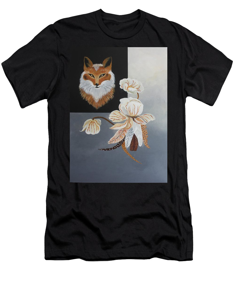Fox Men's T-Shirt (Athletic Fit) featuring the painting American Fox by Ann Shramm-Williams