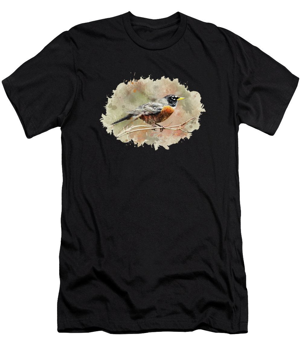 American Robin Men's T-Shirt (Athletic Fit) featuring the mixed media American Robin - Watercolor Art by Christina Rollo