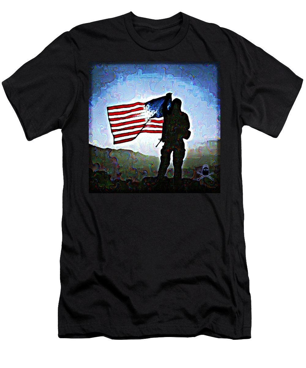 Flag Men's T-Shirt (Athletic Fit) featuring the digital art American Soldier With Flag by Jonny Biermann