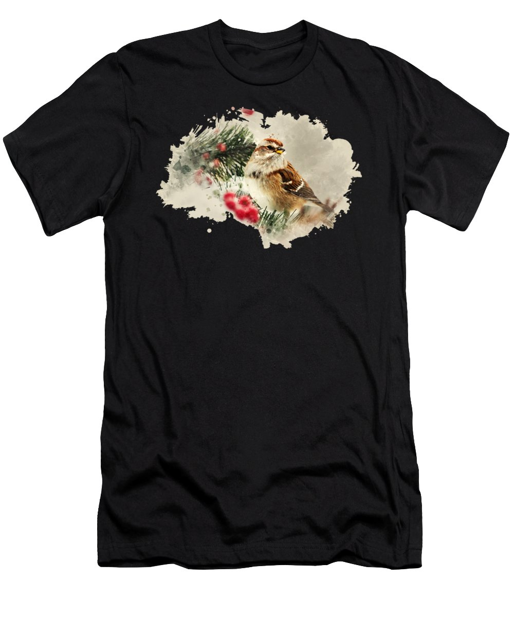 American Tree Sparrow Men's T-Shirt (Athletic Fit) featuring the mixed media American Tree Sparrow Watercolor Art by Christina Rollo