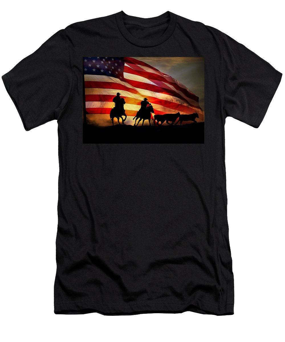 Cowboy Men's T-Shirt (Athletic Fit) featuring the photograph American West by Stephanie Laird