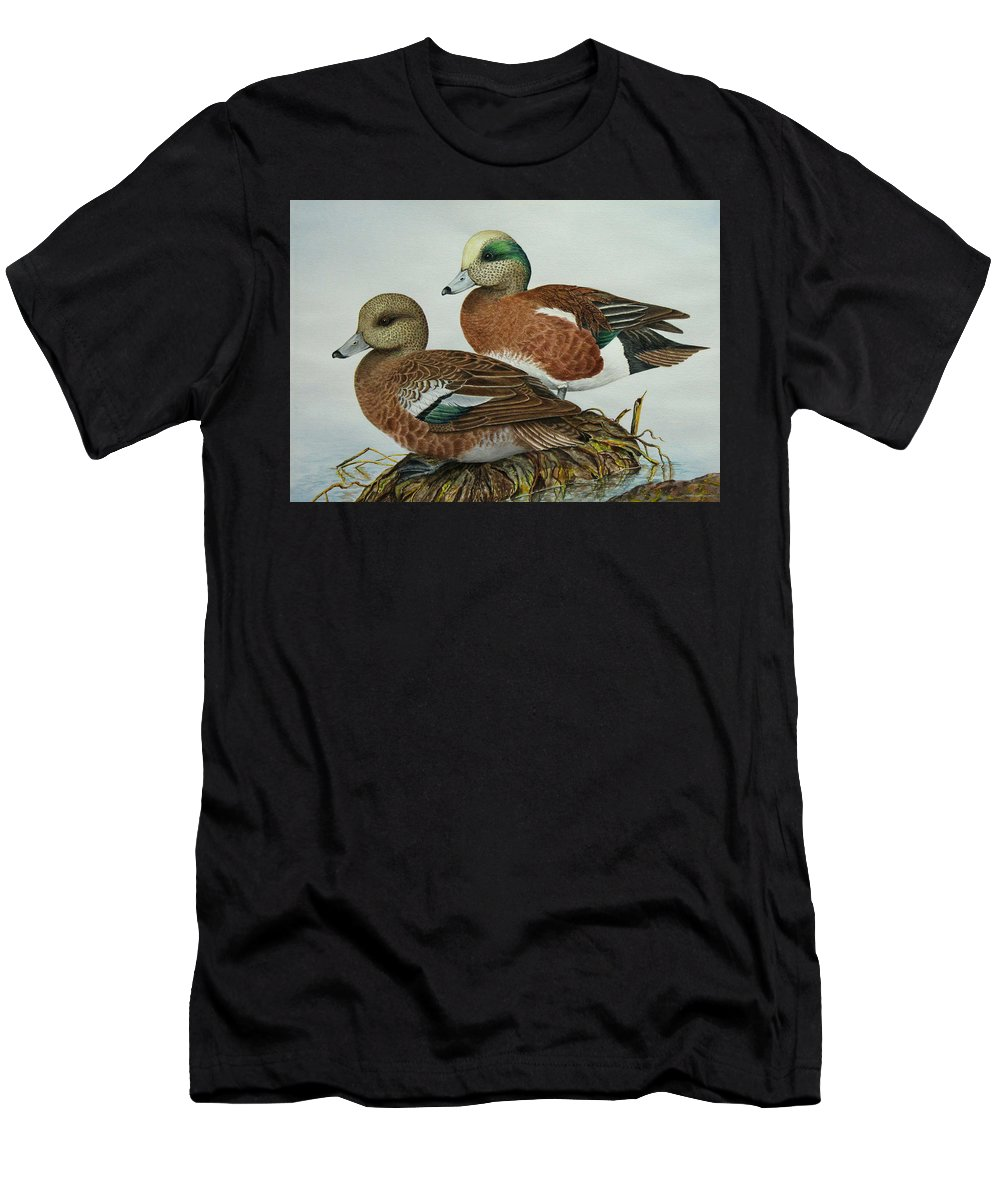 Ducks Men's T-Shirt (Athletic Fit) featuring the painting American Widgeons by Elaine Booth-Kallweit