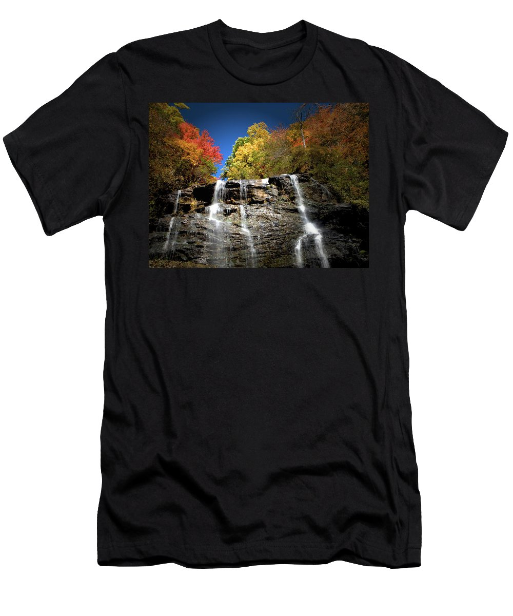 Amicalola Men's T-Shirt (Athletic Fit) featuring the photograph Amicalola Falls by Dick Goodman