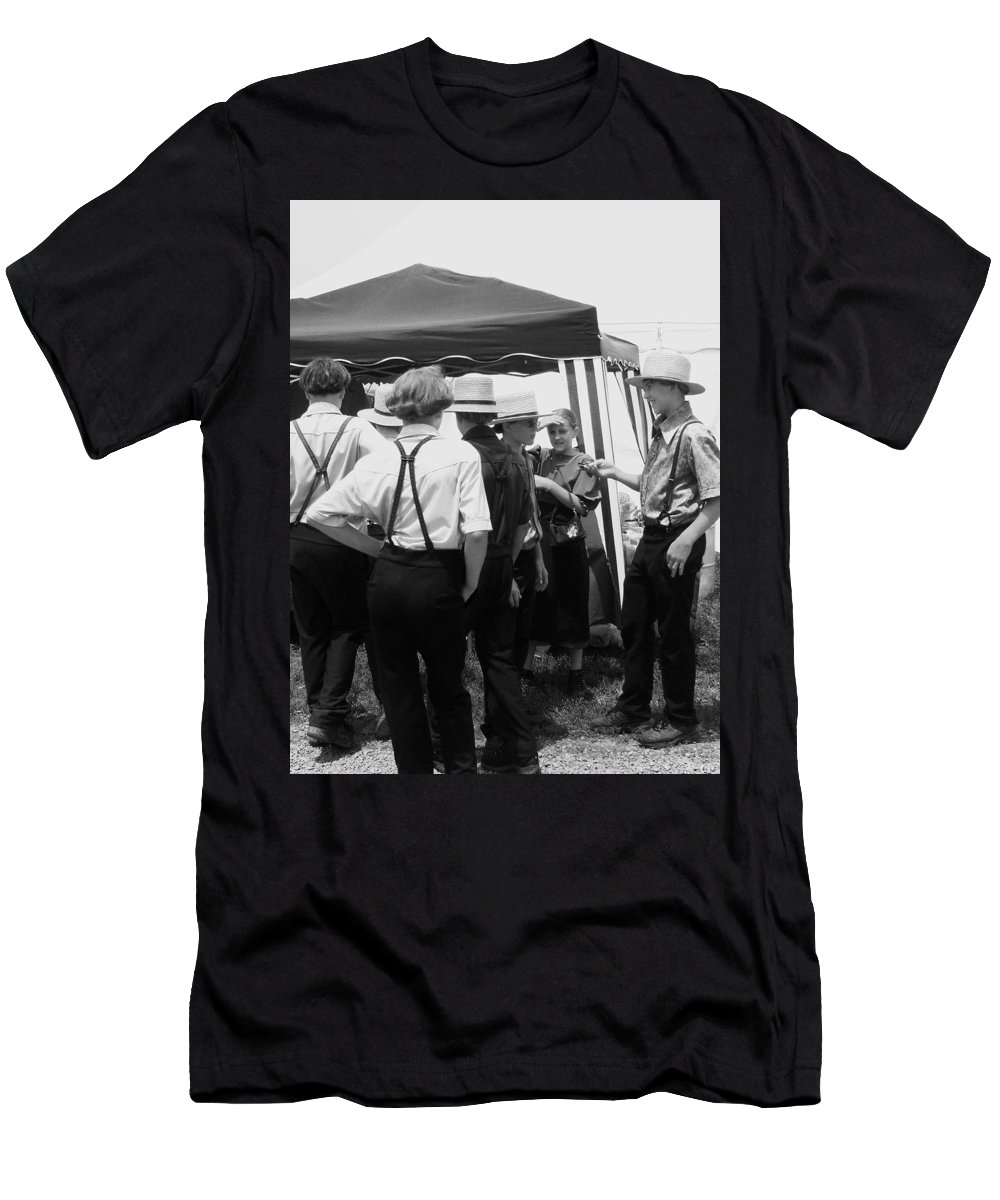 Amish Men's T-Shirt (Athletic Fit) featuring the painting Amish Auction Day by Eric Schiabor