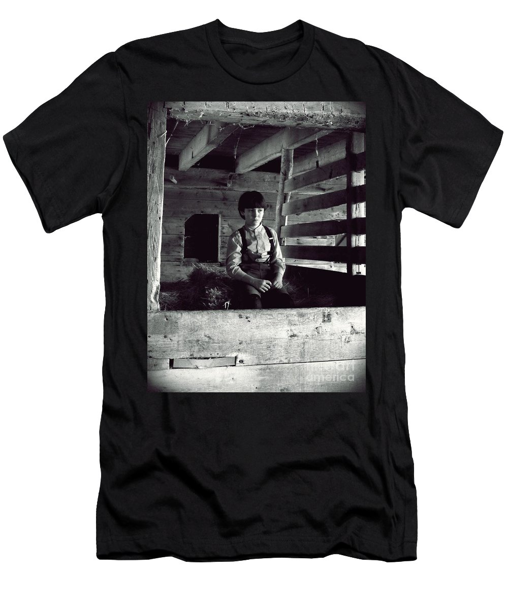 Amish Men's T-Shirt (Athletic Fit) featuring the photograph Amish Boy by Robert Scifo