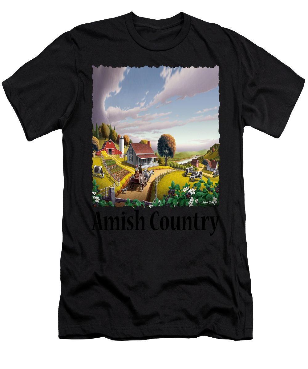Amish Country.appalachian Men's T-Shirt (Athletic Fit) featuring the painting Amish Country - Appalachian Blackberry Patch Country Farm Landscape 2 by Walt Curlee
