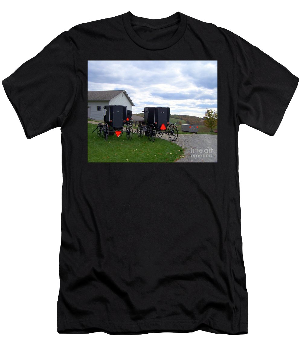 Amish Men's T-Shirt (Athletic Fit) featuring the photograph Amish Country Carts Autumn by Charlene Cox