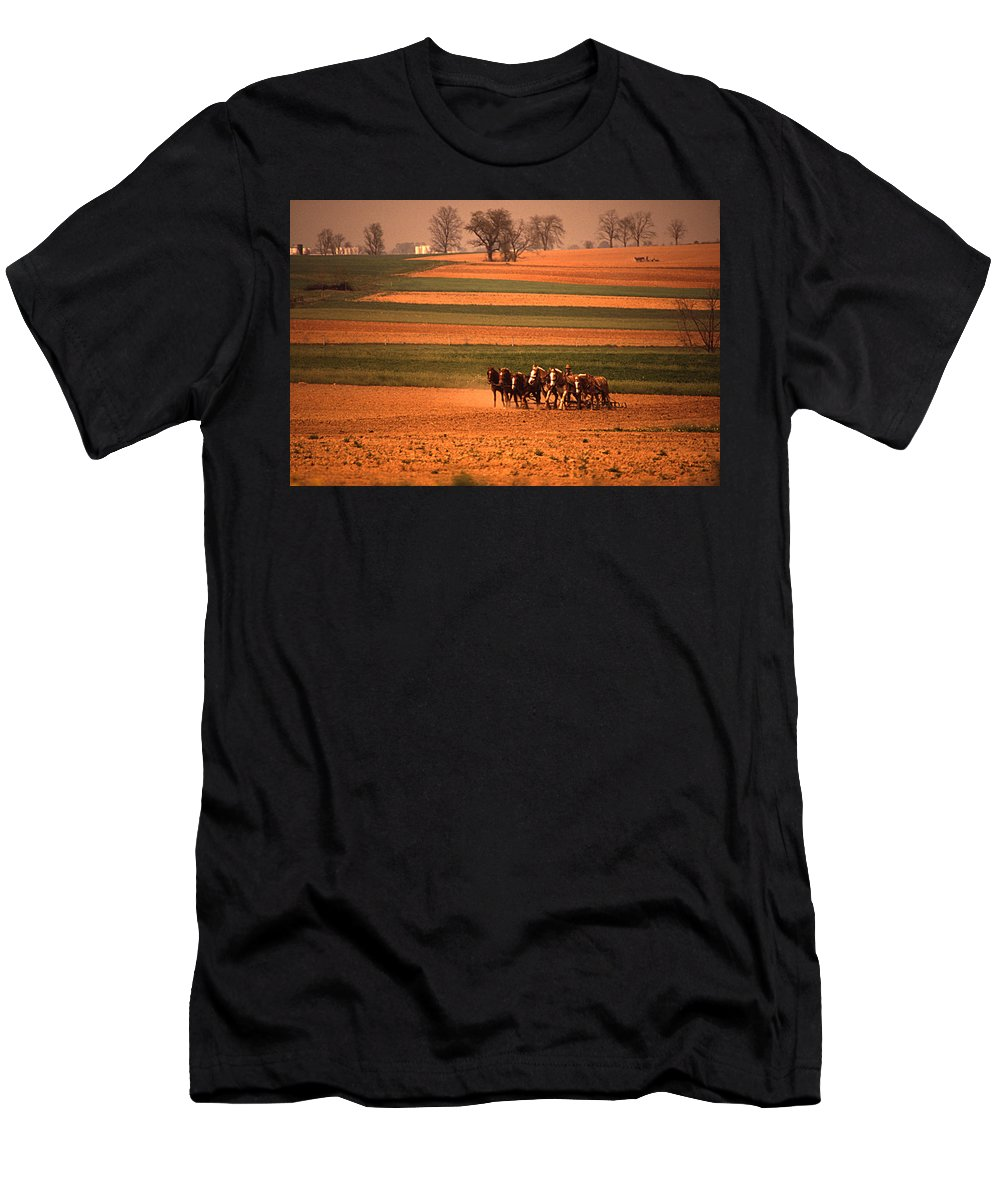 Lancaster Men's T-Shirt (Athletic Fit) featuring the photograph Amish Country Farm Landscape by Blair Seitz