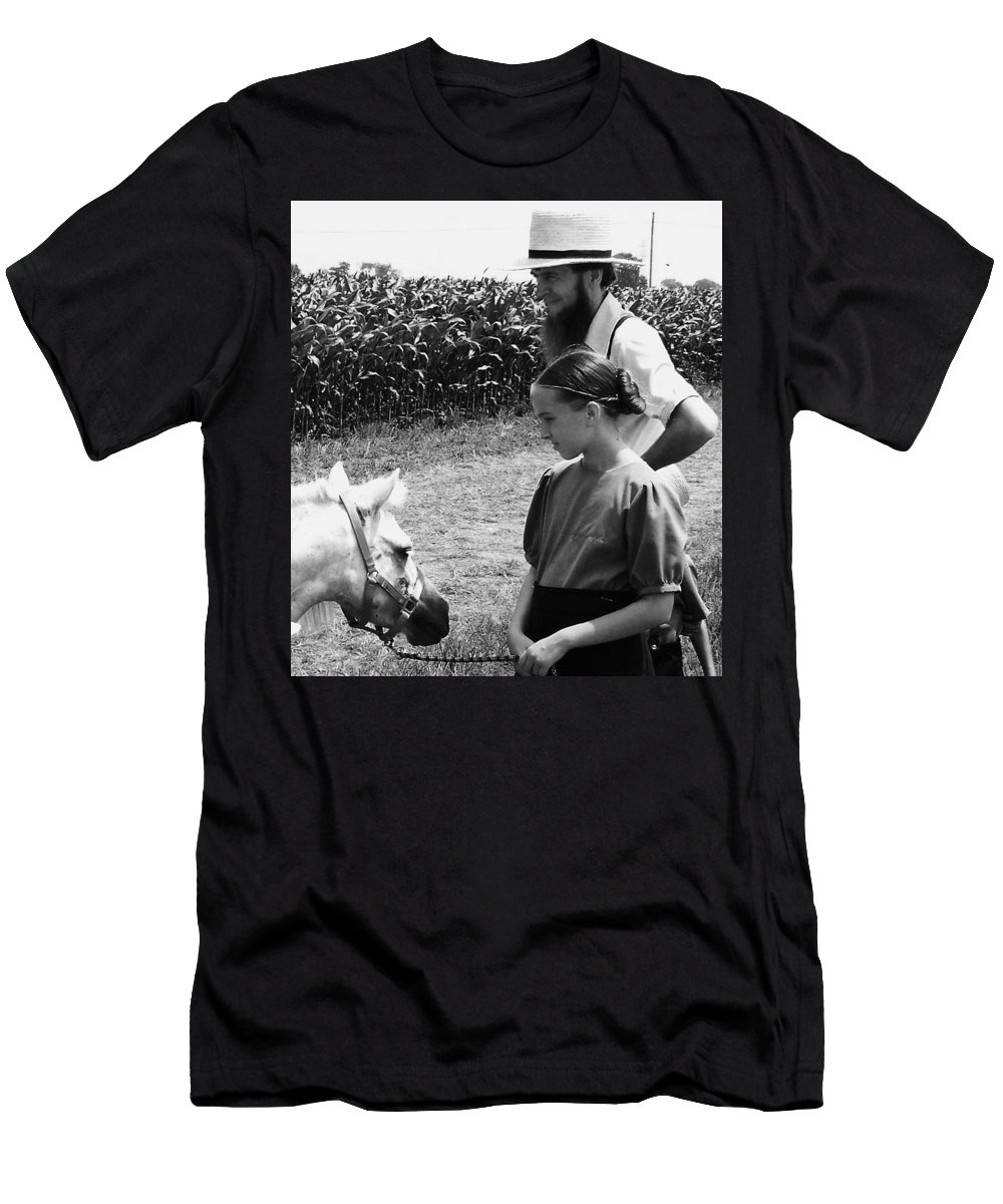 Amish Men's T-Shirt (Athletic Fit) featuring the photograph Amish Girl And Pony by Eric Schiabor