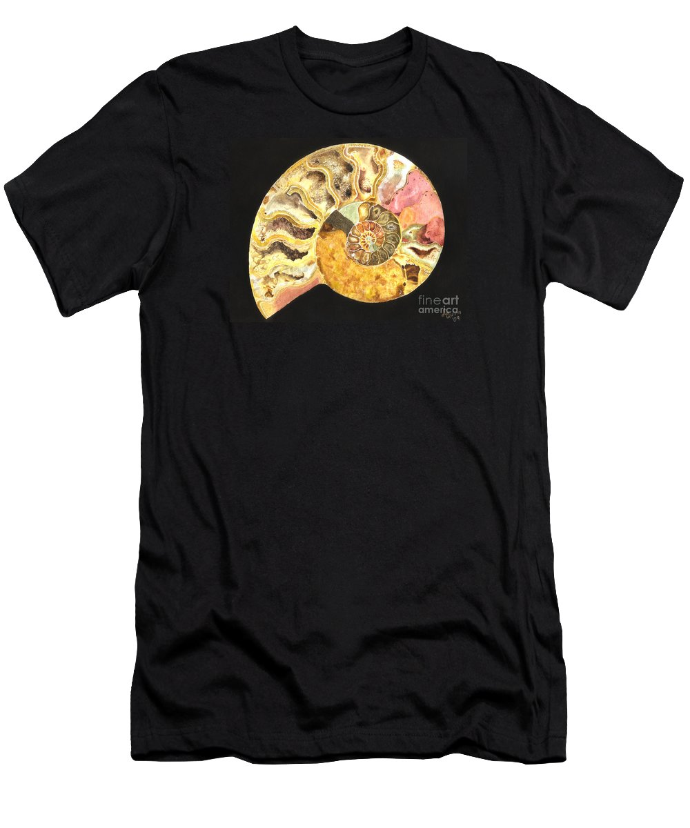 Ammonite Fossil Men's T-Shirt (Athletic Fit) featuring the painting Ammonite Fossil by Lynn Quinn