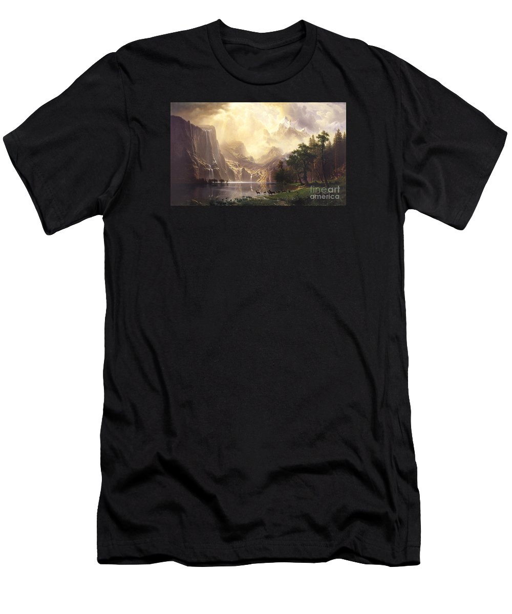 Albert_bierstadt Men's T-Shirt (Athletic Fit) featuring the painting Among_the_sierra_nevada_mountains by Celestial Images