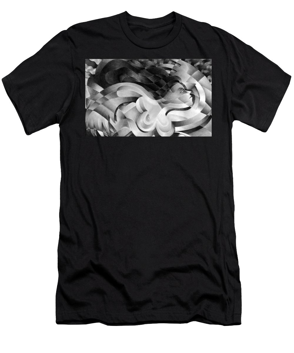 Art Men's T-Shirt (Athletic Fit) featuring the drawing Amore by Myron Belfast