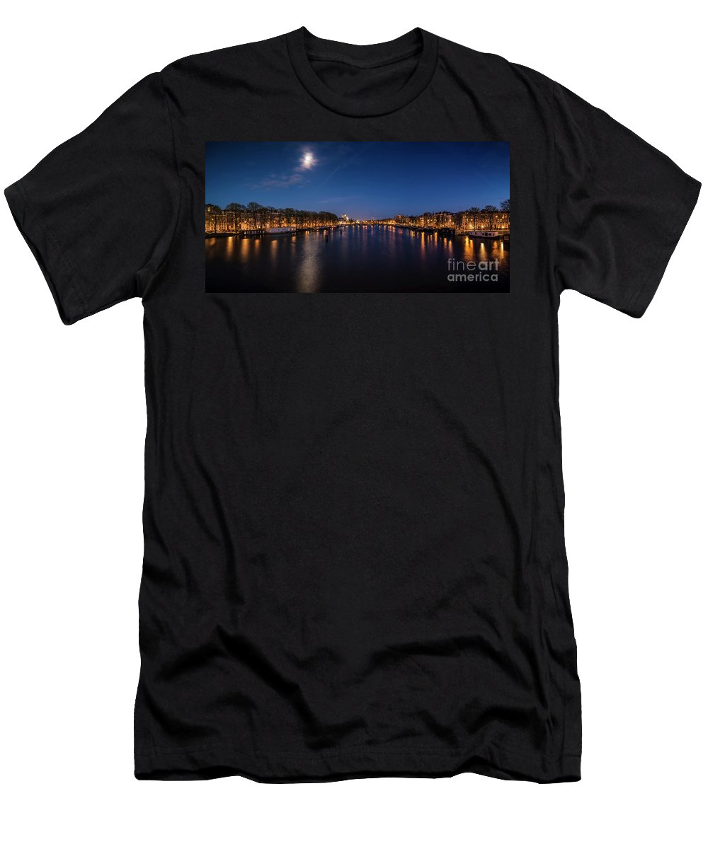 Urban Landscapes Men's T-Shirt (Athletic Fit) featuring the photograph Amstel 2 by Michael Harris
