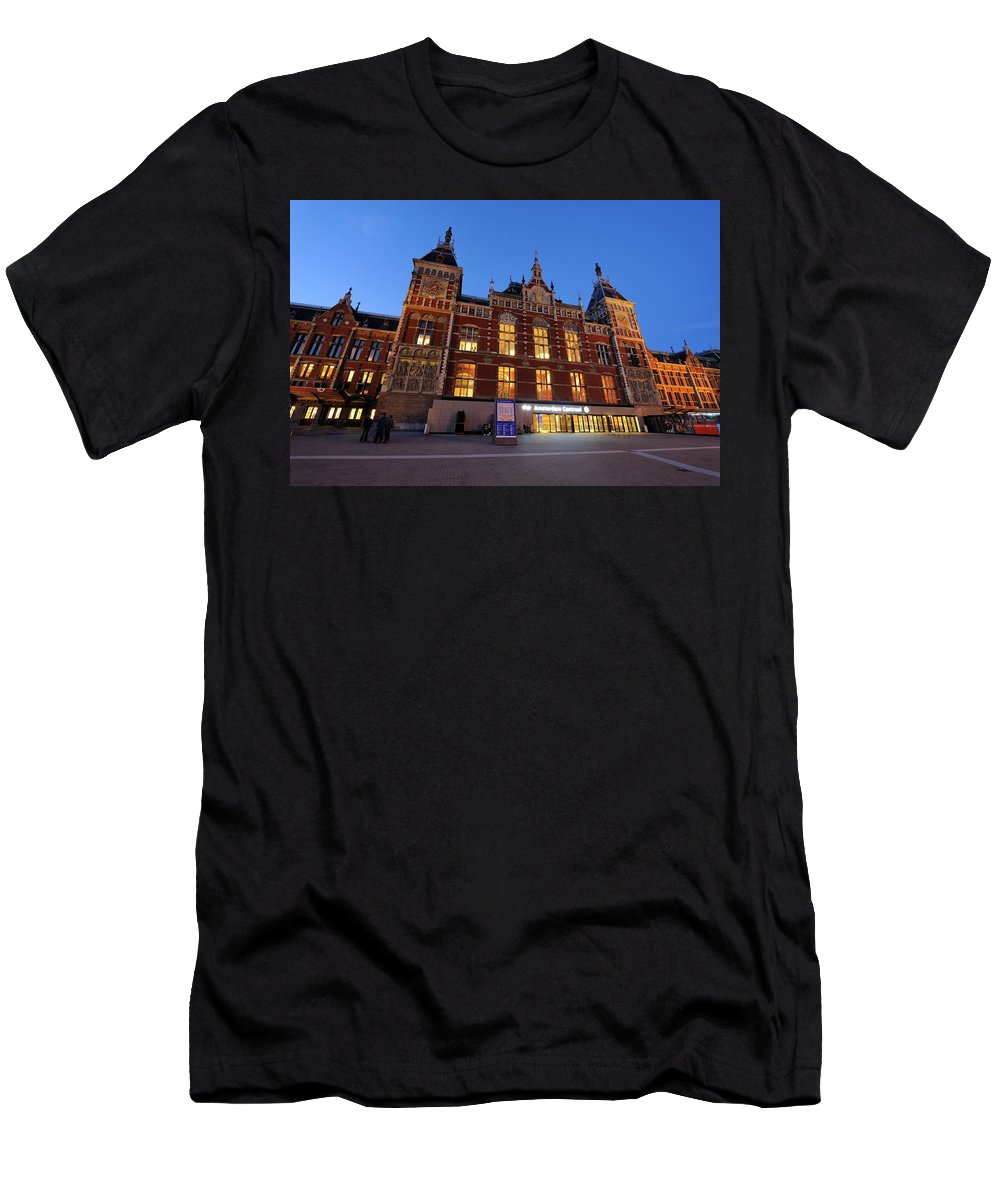 Amsterdam Men's T-Shirt (Athletic Fit) featuring the photograph Amsterdam Central Station by Merijn Van der Vliet