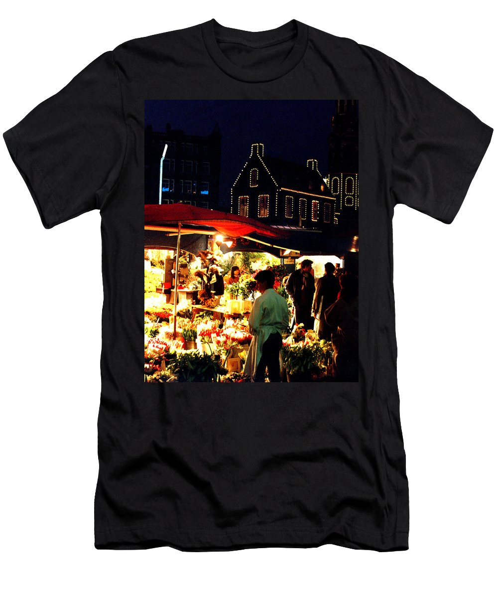Flowers Men's T-Shirt (Athletic Fit) featuring the photograph Amsterdam Flower Market by Nancy Mueller