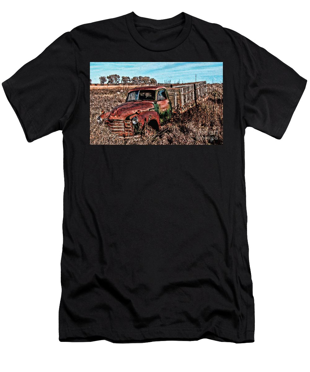 Truck Men's T-Shirt (Athletic Fit) featuring the digital art An Abandoned Truck by Tommy Anderson