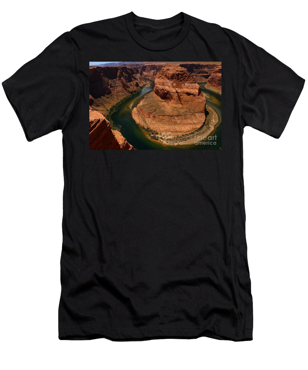 Canyon Men's T-Shirt (Athletic Fit) featuring the photograph An Amazing Place - Horseshoe Bend by Christiane Schulze Art And Photography