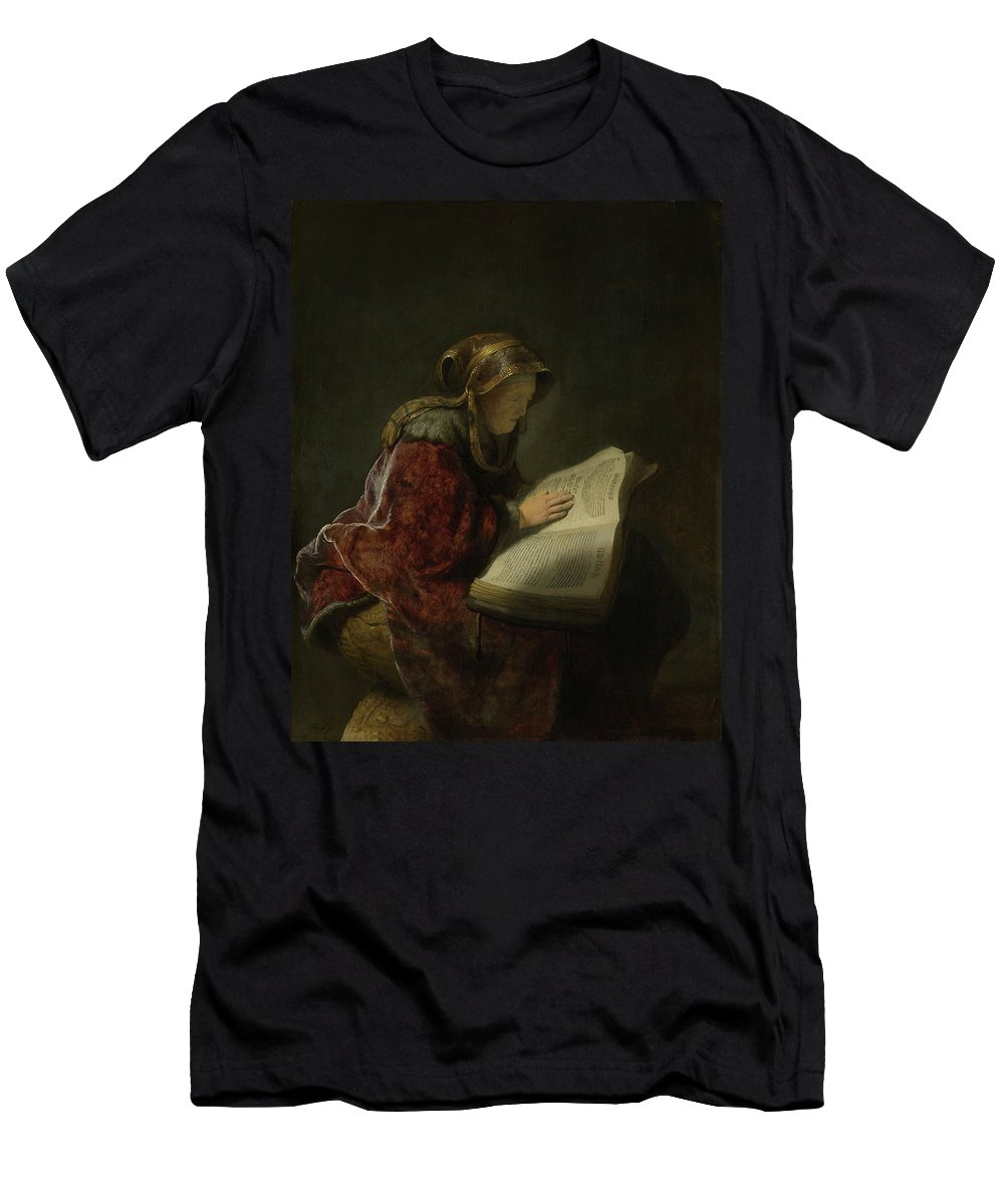 Painting Men's T-Shirt (Athletic Fit) featuring the painting An Old Woman Reading - Prophetess Hannah by Mountain Dreams