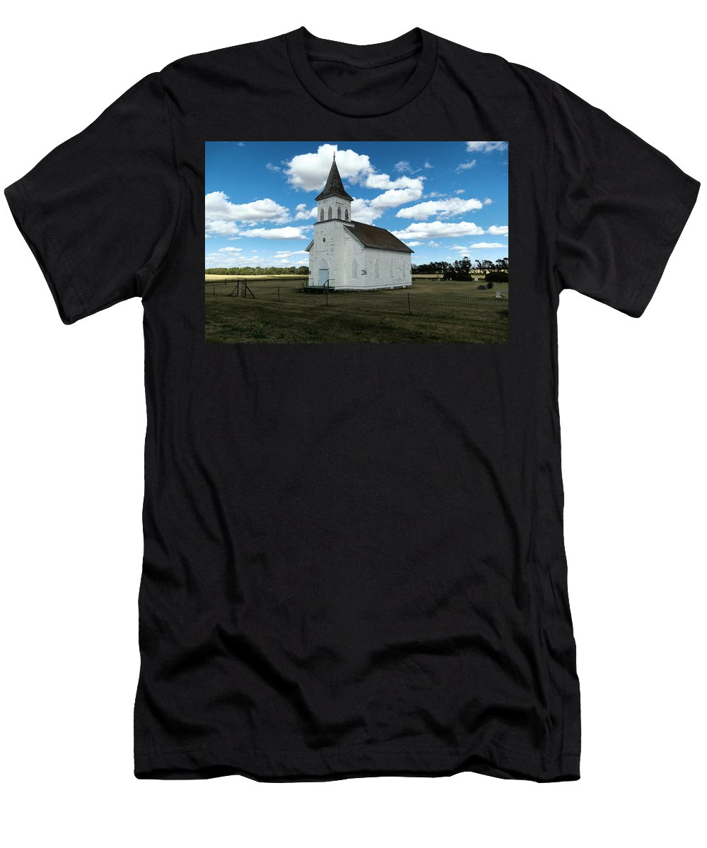 Church Men's T-Shirt (Athletic Fit) featuring the photograph An Old Wooden Church by Jeff Swan