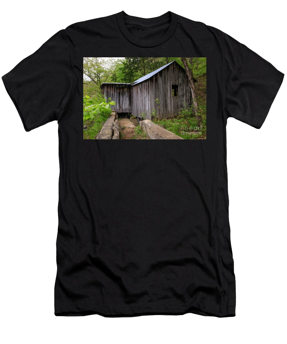 Missouri Ozarks Men's T-Shirt (Athletic Fit) featuring the photograph An Ozark Mill by Lynn Sprowl