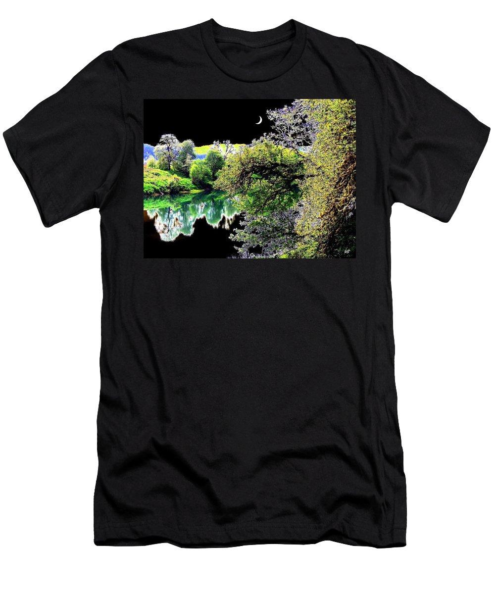 Umpqua River Men's T-Shirt (Athletic Fit) featuring the digital art An Umpqua Night by Will Borden