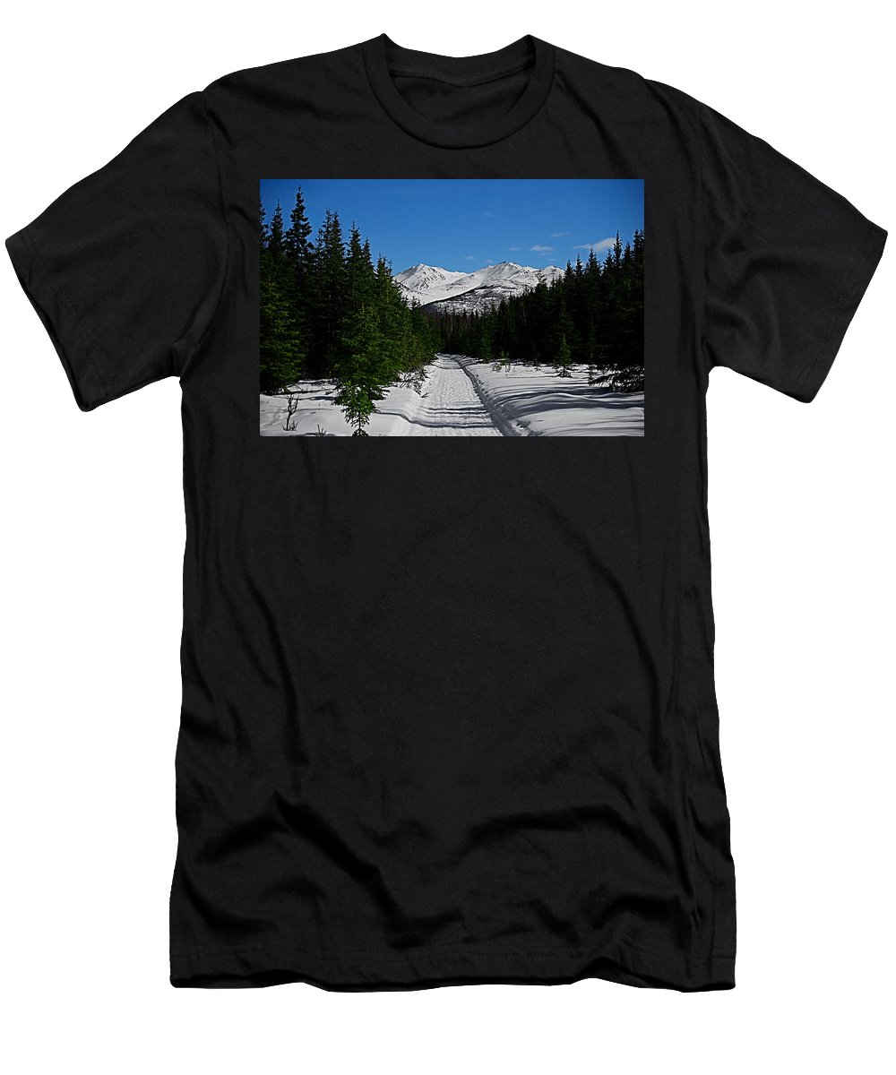 Anchorage Mountains White Trees Men's T-Shirt (Athletic Fit) featuring the photograph Anchorage Mountains by Galeria Trompiz