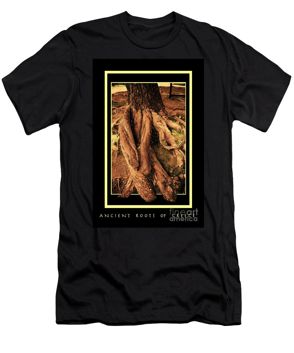 Greece Men's T-Shirt (Athletic Fit) featuring the photograph Ancient Roots Of Greece by Madeline Ellis