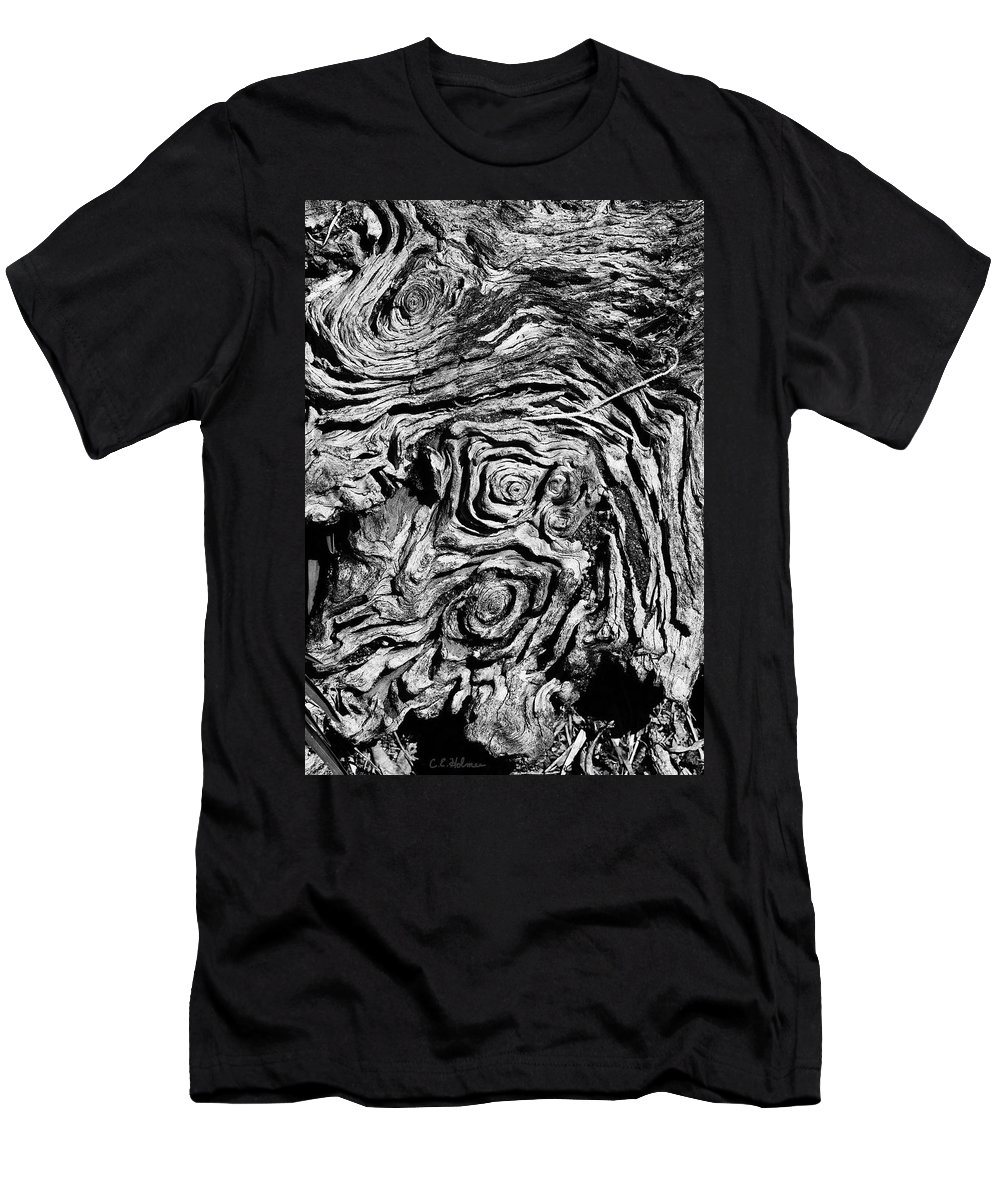 Tree Men's T-Shirt (Athletic Fit) featuring the photograph Ancient Stump by Christopher Holmes