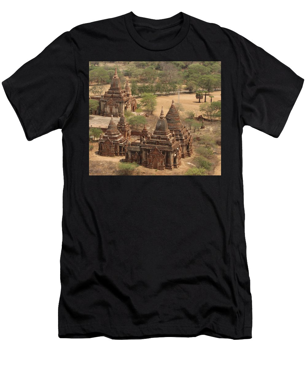 Ancient Stupa By Valerie Trot Men's T-Shirt (Athletic Fit) featuring the photograph Ancient Stupa by Valeria New