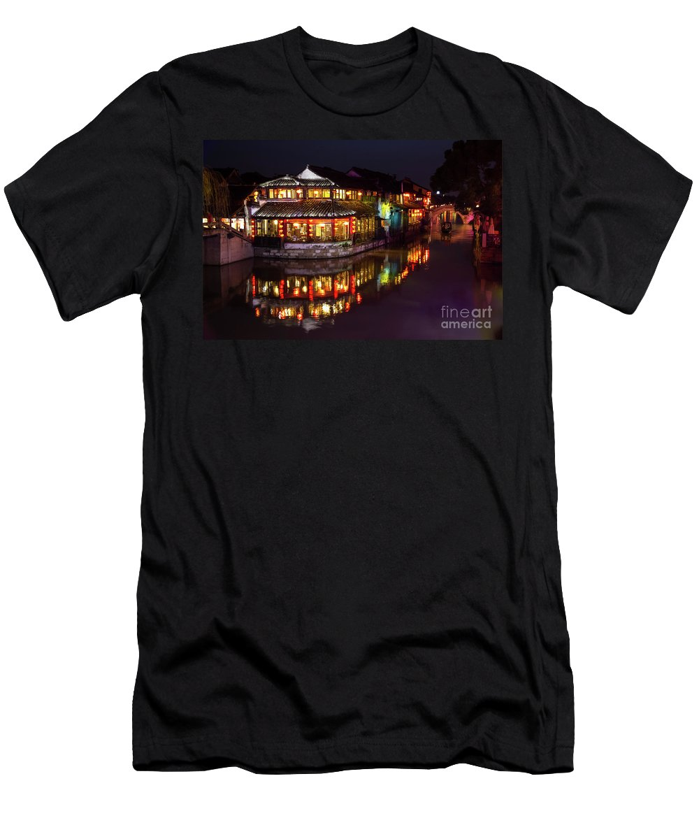 Traditional Build Men's T-Shirt (Athletic Fit) featuring the photograph Ancient Style Restaurant On Water By Stone Bridge by Josephine Cleopahrt