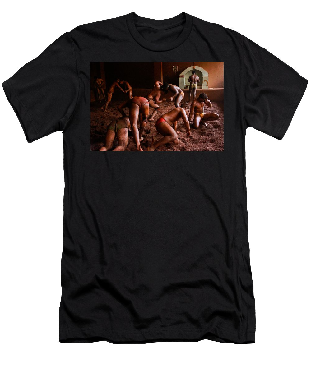 Wrestling Men's T-Shirt (Athletic Fit) featuring the photograph ancient wrestlers of India by Indrajit Khambe