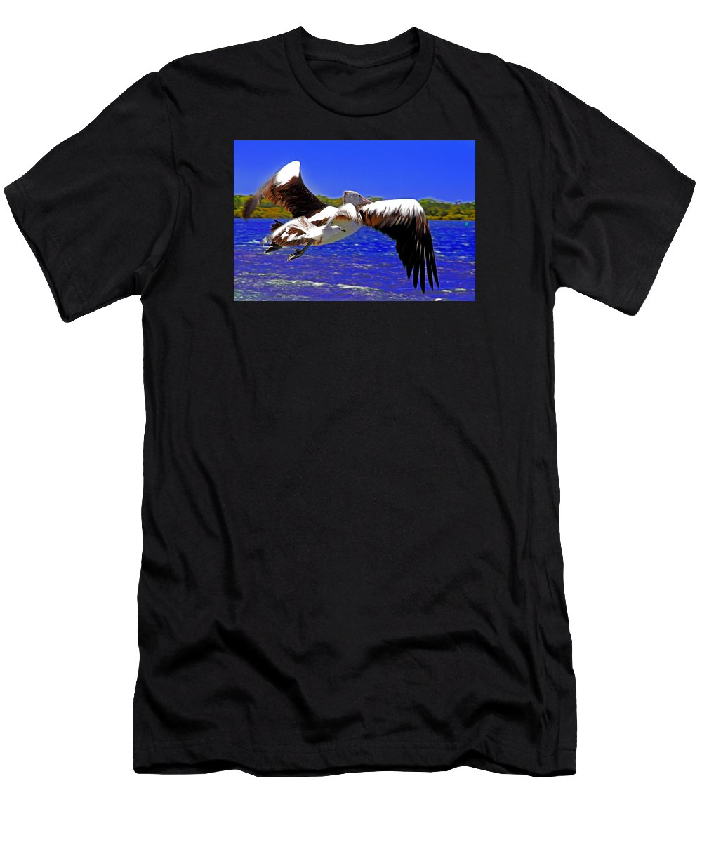 Pelican Men's T-Shirt (Athletic Fit) featuring the photograph And The Seagull Follows Pelican by Miroslava Jurcik