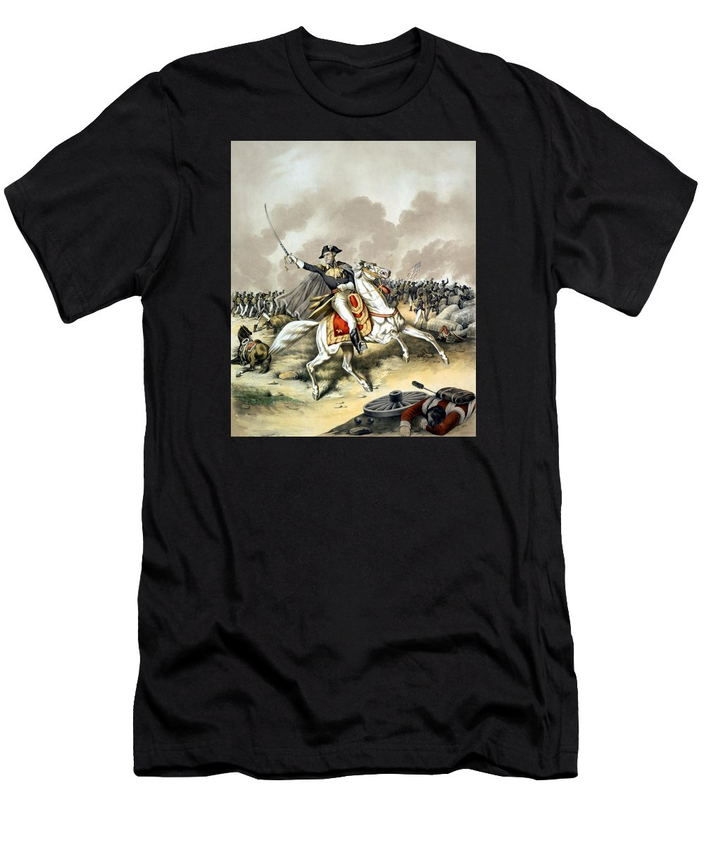 Andrew Jackson Men's T-Shirt (Athletic Fit) featuring the painting Andrew Jackson At The Battle Of New Orleans by War Is Hell Store