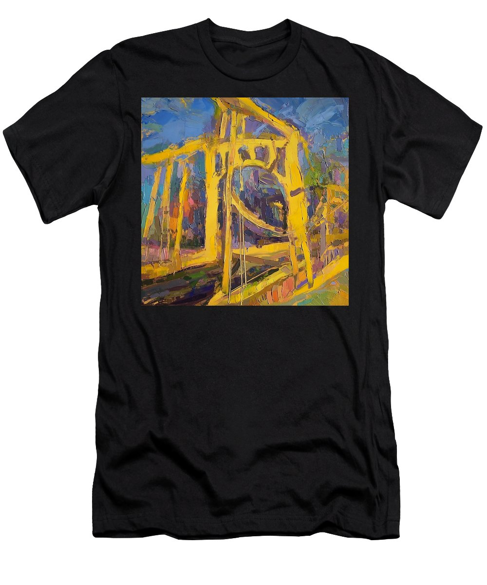 Andy Warhol Men's T-Shirt (Athletic Fit) featuring the painting Andy Warhol Bridge by Roland Kay
