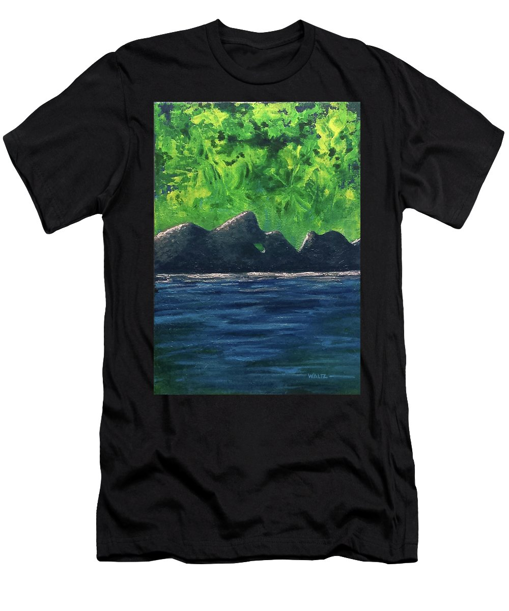 Abstract Head Face Lake Sea Shore Green Blue Men's T-Shirt (Athletic Fit) featuring the painting Anecdotal Experiences by Beth Waltz