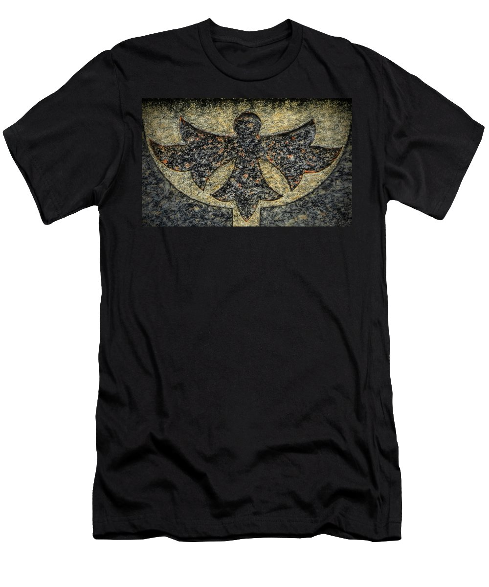 Cemeteries Men's T-Shirt (Athletic Fit) featuring the photograph Angel In Stone by Thomas Fields