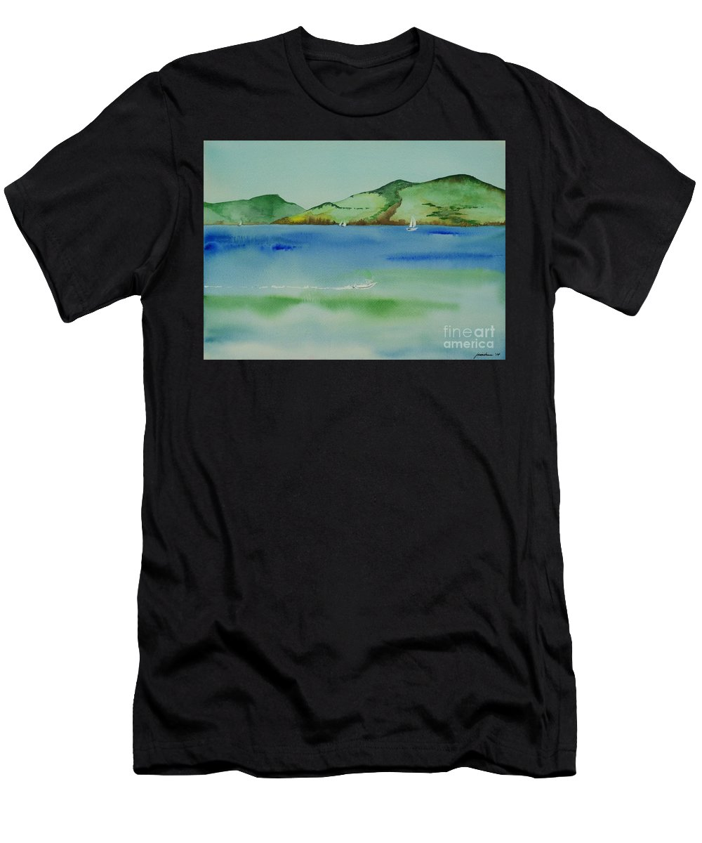 Angel Island Men's T-Shirt (Athletic Fit) featuring the painting Angel Island Unplugged by Janine Hunn