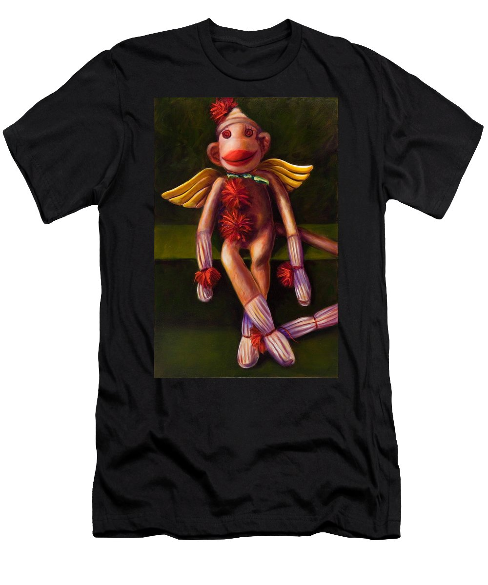 Sock Monkey Angel Men's T-Shirt (Athletic Fit) featuring the painting Angel Made Of Sockies by Shannon Grissom