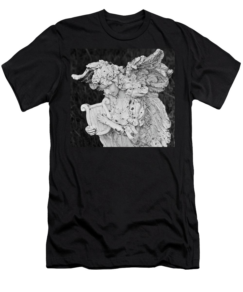 Cemetery Men's T-Shirt (Athletic Fit) featuring the photograph Angel With Harp by George Elliott