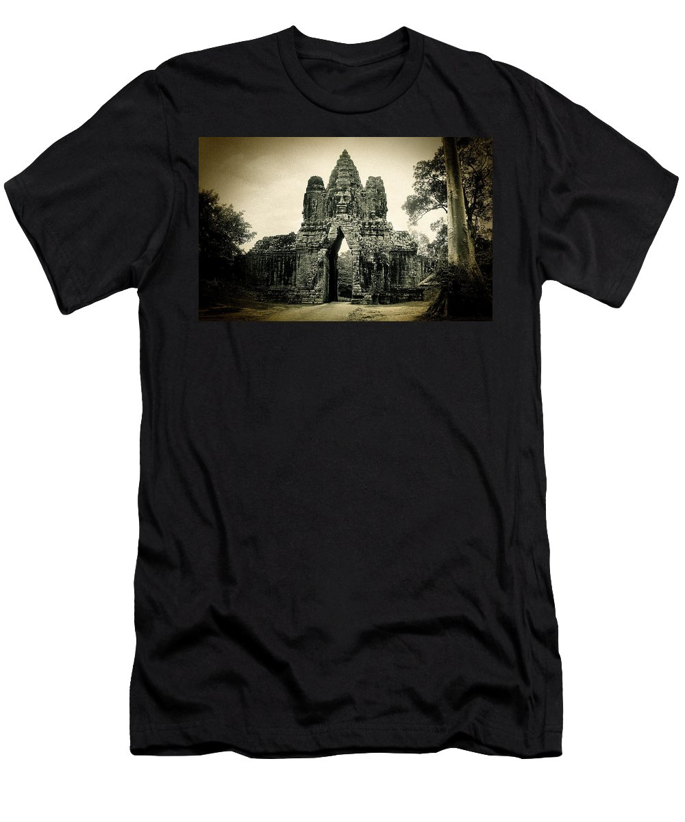 Angkor Thom Men's T-Shirt (Athletic Fit) featuring the photograph Angkor Thom Southern Gate by Weston Westmoreland