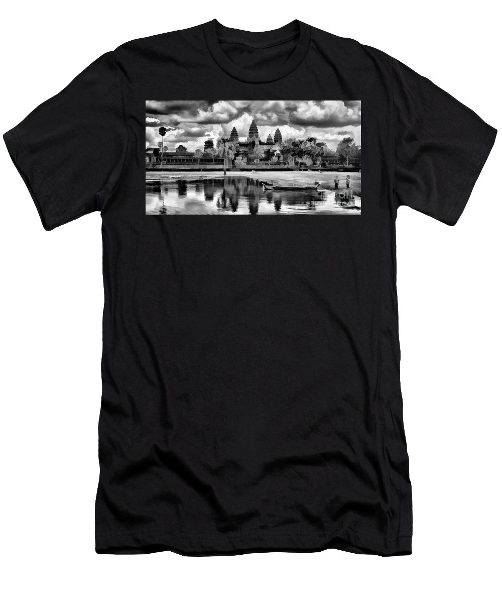 Angkor Wat Men's T-Shirt (Athletic Fit) featuring the photograph Angkor Wat Black Oil Paint by Chuck Kuhn