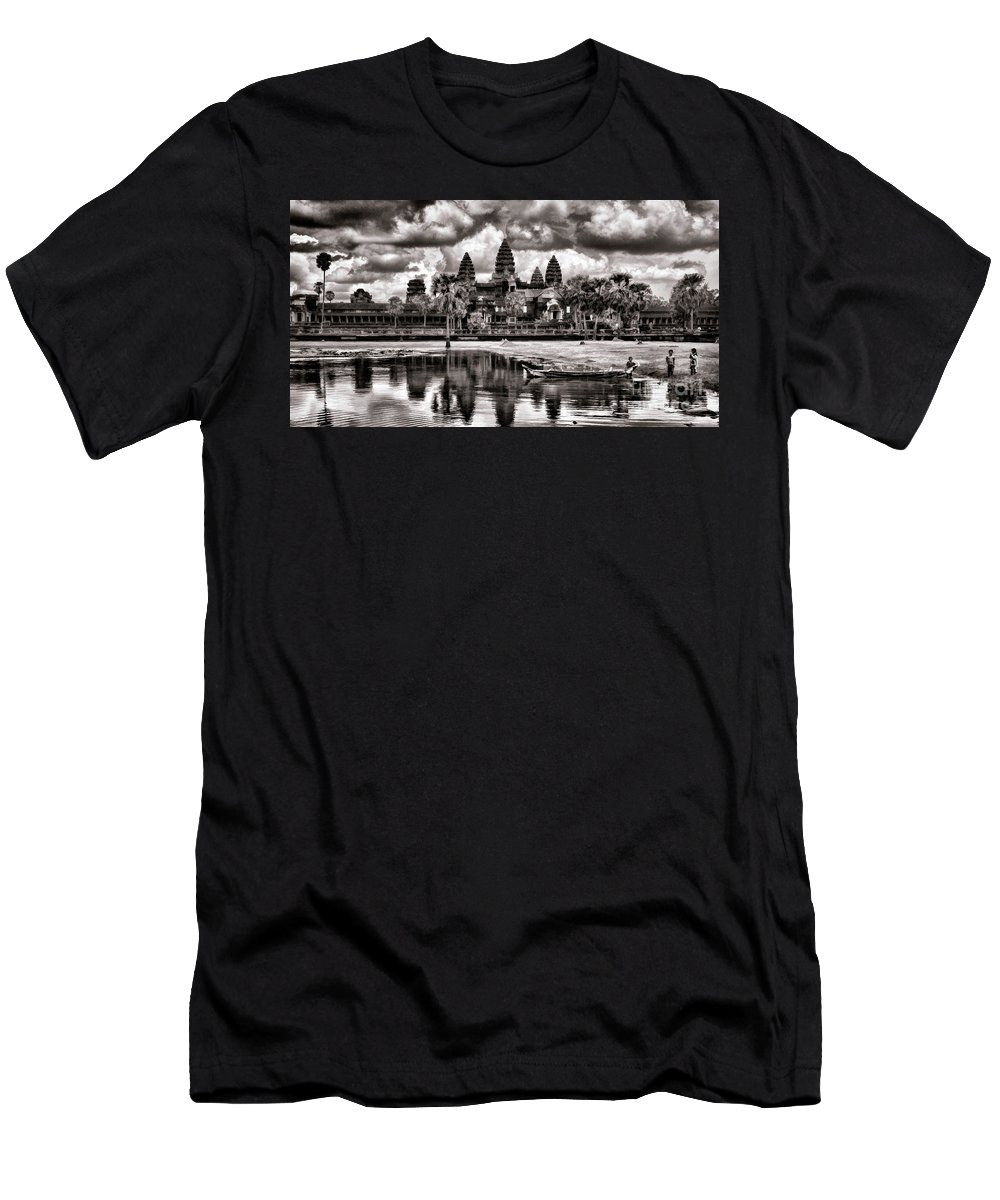 Angkor Wat Men's T-Shirt (Athletic Fit) featuring the photograph Angkor Wat Sepia Paint by Chuck Kuhn