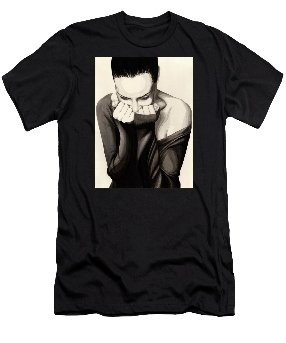 Ink Men's T-Shirt (Athletic Fit) featuring the painting Anguish #10 by James Taylor