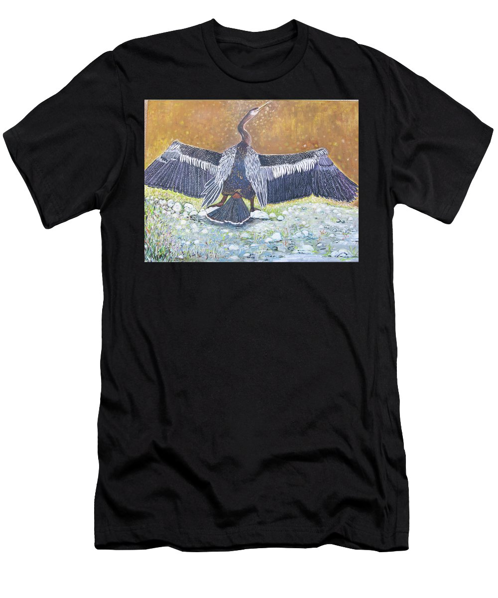 Anhinga - Large Water Bird Men's T-Shirt (Athletic Fit) featuring the painting Anhinga Drying Her Wings by Alicia Otis