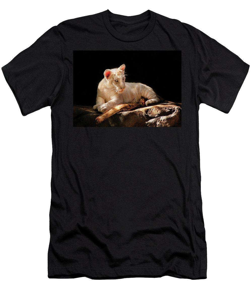 Savad Men's T-Shirt (Athletic Fit) featuring the photograph Animal - Cat - A Baby Snow Tiger by Mike Savad