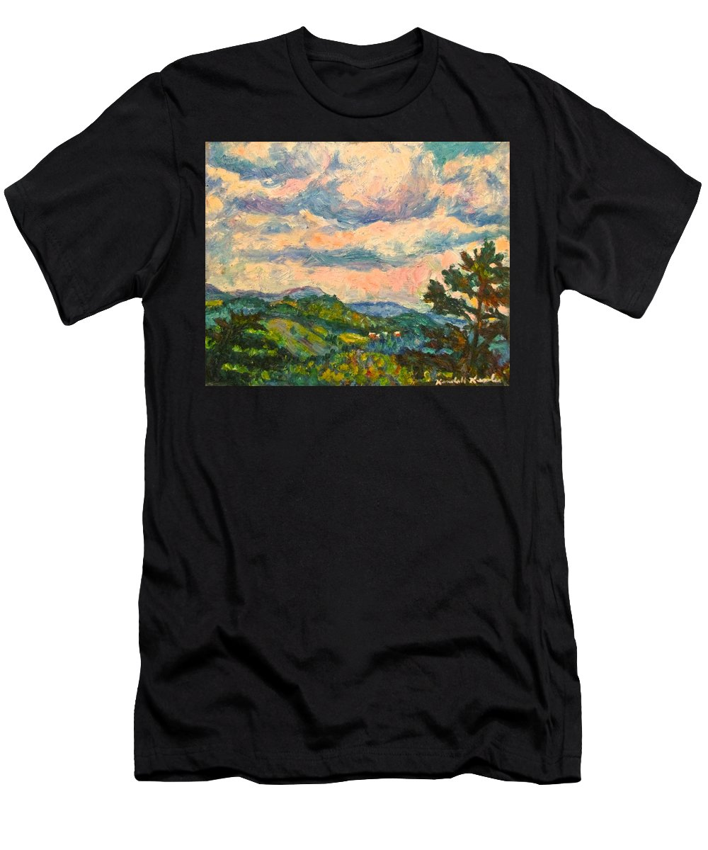 Landscape Paintings Men's T-Shirt (Athletic Fit) featuring the painting Another Rocky Knob by Kendall Kessler