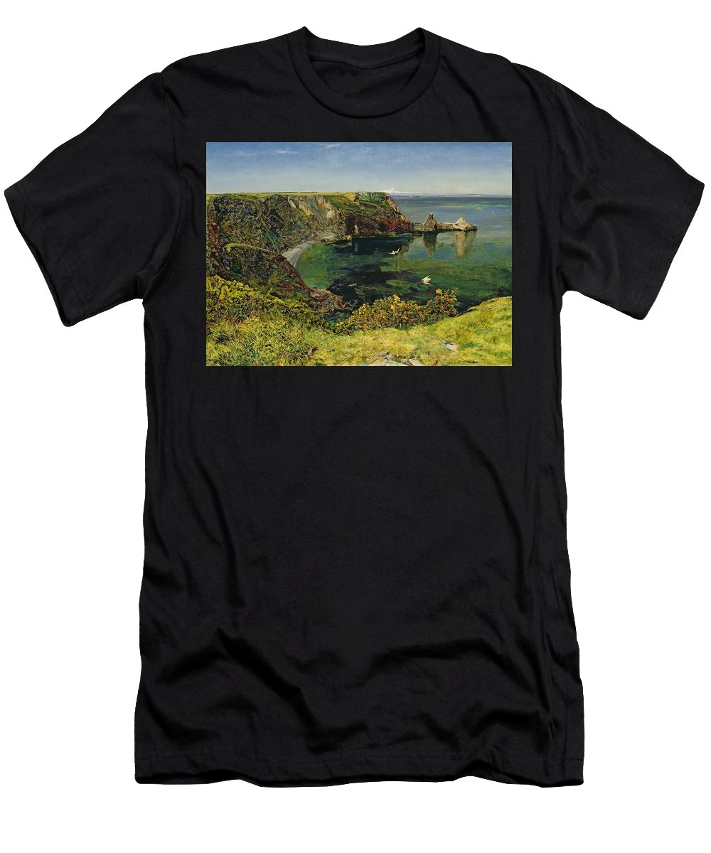 John William Inchbold Men's T-Shirt (Athletic Fit) featuring the painting Anstey's Cove In Devon by John William Inchbold