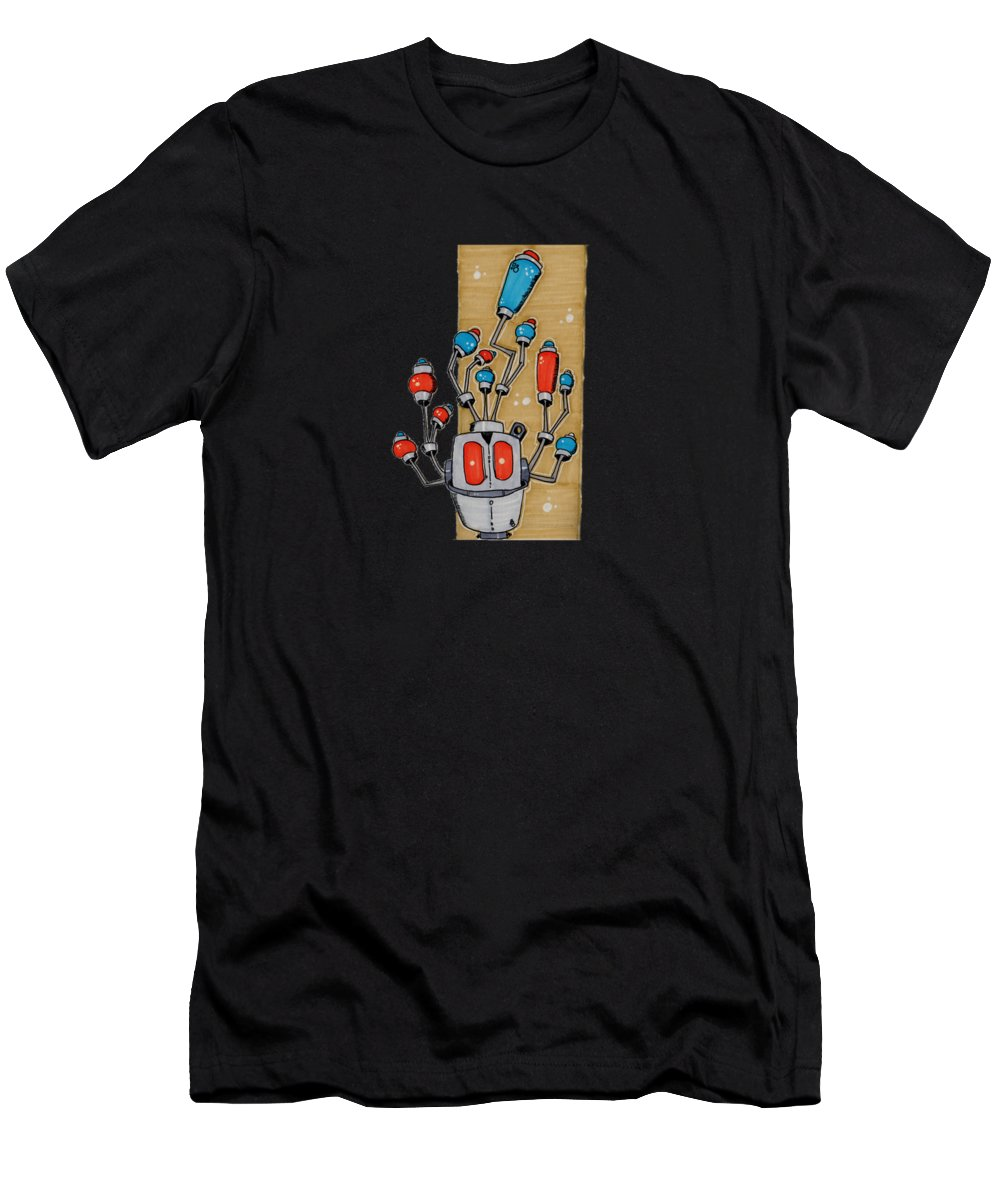 Whimsical Men's T-Shirt (Athletic Fit) featuring the drawing Antennabot Psi Gh76g-u by Robert Palange